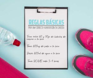 Reglas básicas para una correcta alimentación en carrera