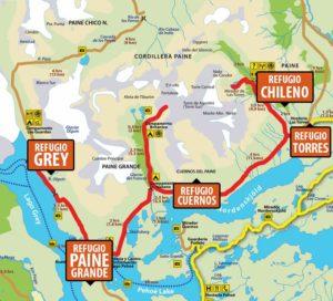 Mapa Trekking W