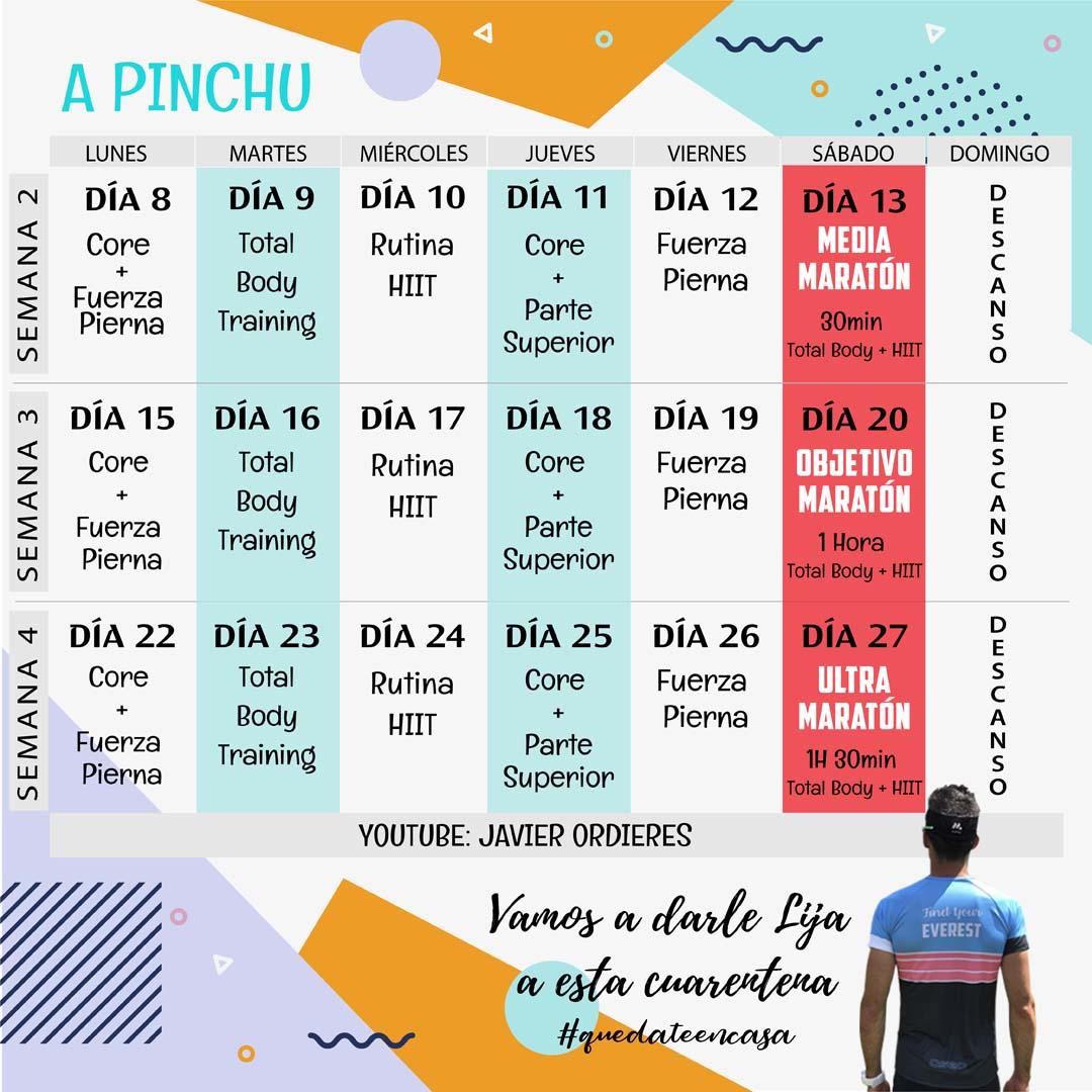 Calendario de entrenamiento durante el confinamiento