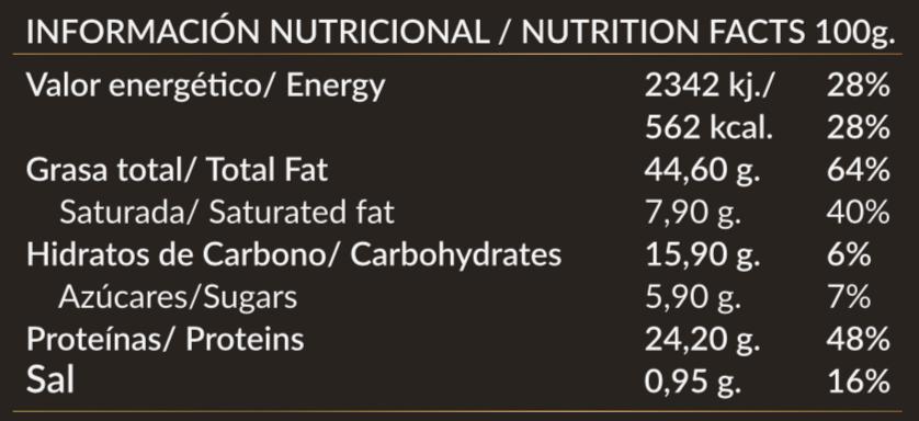 Valor nutricional Paleobull 457 Crema de Cacahuete