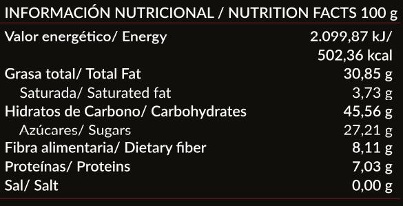 Valor nutricional Paleobull Ambrosía Crema de Cacao